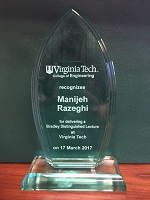 Virginia Tech College of Engineering recognizes Manijeh Razeghi for delivering a Bradley Distinguished Lecture  given to Manineh Razeghi