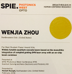 SPIE Photonics West 2016 Best Paper Award given to Wenjia Zhao