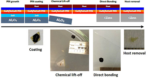 Chemical lift-off and direct wafer bonding of GaN/InGaN P-I-N structures grown on ZnO